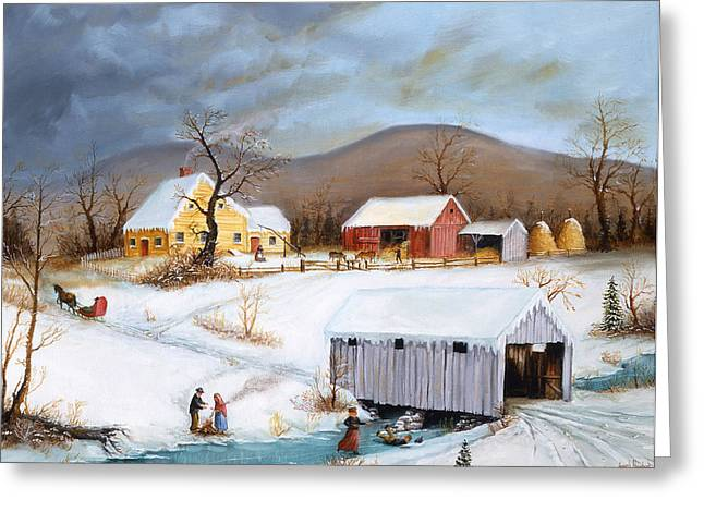 Winter Crossing Greeting Card by Joseph Holodook