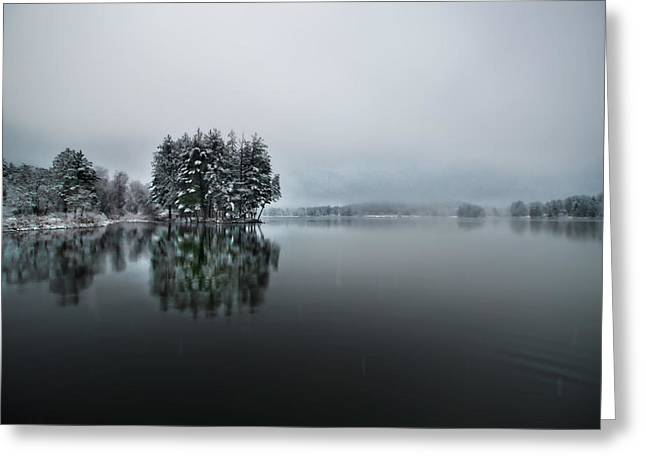 Winter Day Red House Lake Greeting Card
