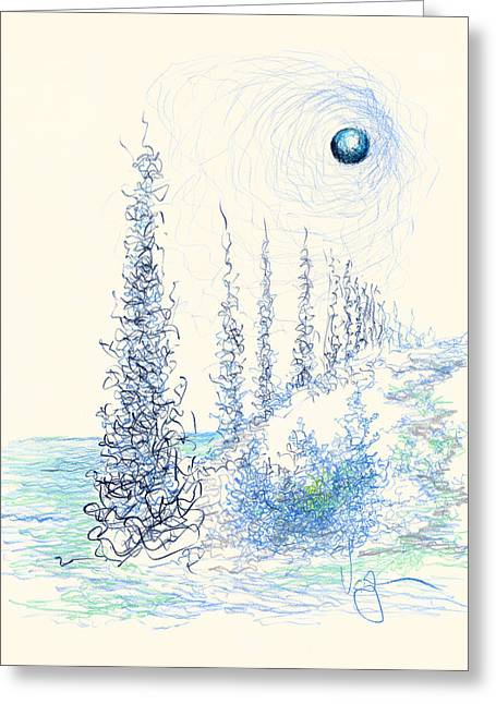 Mound Drawings Greeting Cards - Winter Daze One Greeting Card by William Vanya