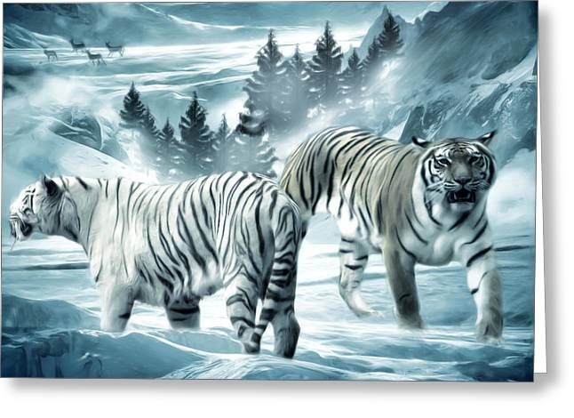 Tigers Digital Greeting Cards - Winter Deuces Greeting Card by Lourry Legarde