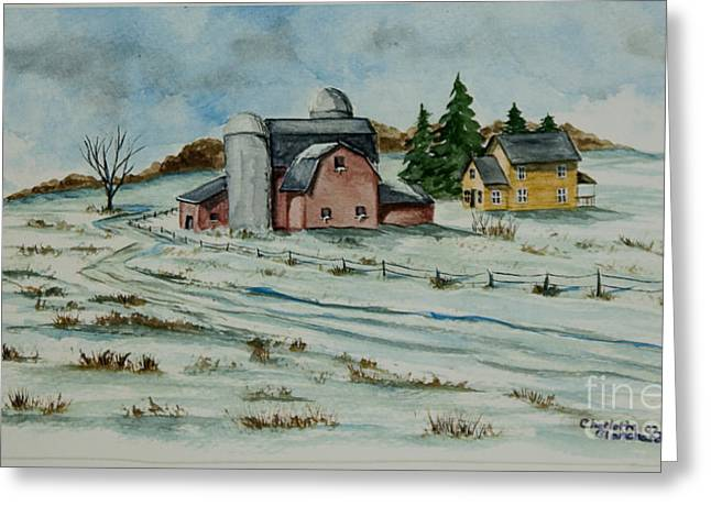 New England Snow Scene Paintings Greeting Cards - Winter Down On The Farm Greeting Card by Charlotte Blanchard
