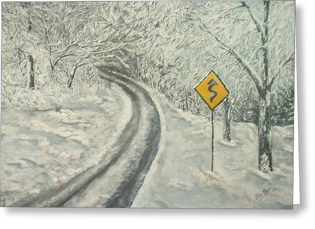 Winter Driving Greeting Card