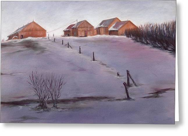 Greeting Card featuring the painting Winter Dusk by Diane Daigle