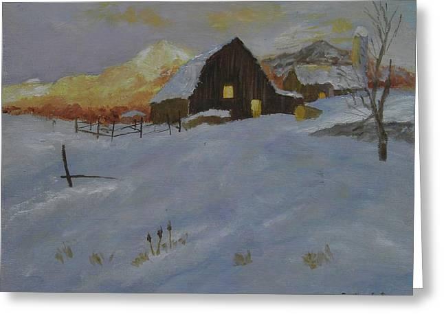Winter Dusk On The Farm Greeting Card