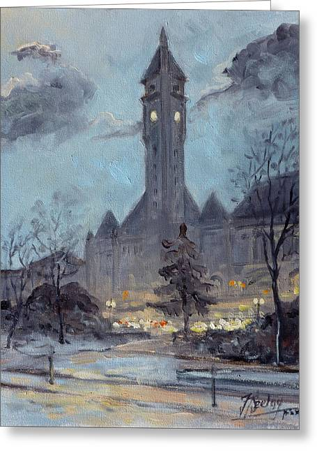 Winter Dusk - Union Station Greeting Card