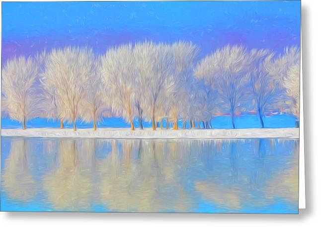 Winter Esplanade Painting Boston, Massachusetts Greeting Card by James Charles