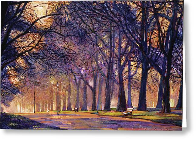 Winter Evening In Central Park Greeting Card by David Lloyd Glover