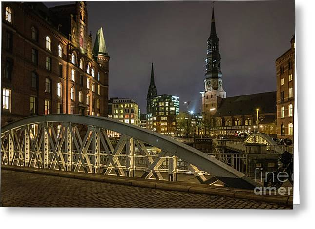 Winter Evening In Hamburg  Greeting Card