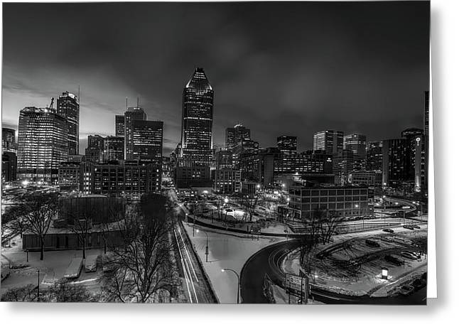 Winter Evening In Montreal Greeting Card by Maxim Polishtkhouk
