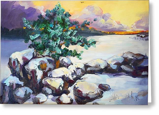 Winter Evening Greeting Card by Mikko Tyllinen
