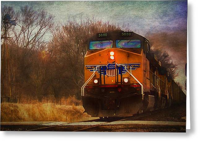 Winter Evening Union Pacific Train Greeting Card
