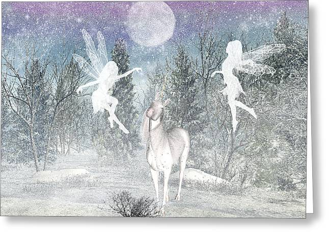 Winter Fairy Magic Greeting Card by Lisa Roy