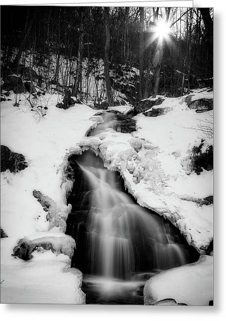 Greeting Card featuring the photograph Winter Falls With Sun by Alan Raasch