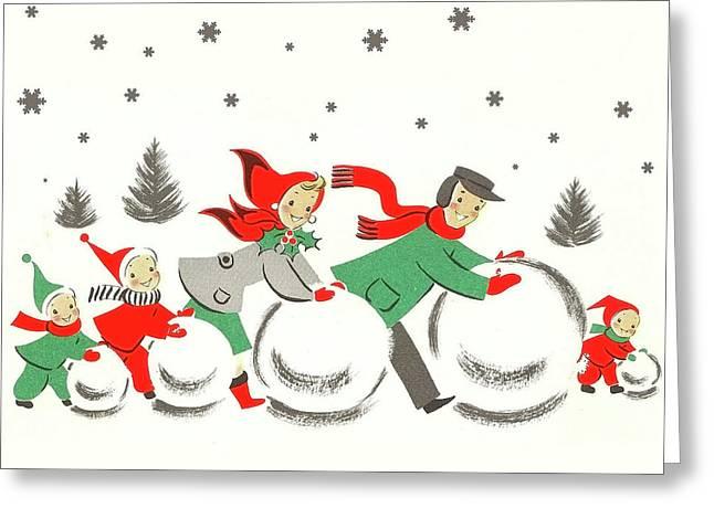 Winter Family Fun Greeting Card