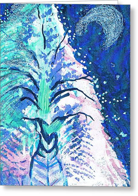 Winter Fantasy Tree With Moon Greeting Card by Anne-Elizabeth Whiteway