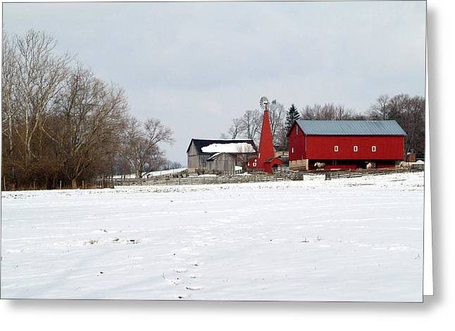 Winter Farm Greeting Card by Robert Clayton