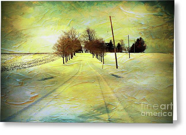 Winter Farm Tracks Greeting Card by Anthony Djordjevic