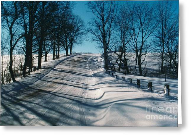 Winter Farmroads Greeting Card by Jesse Ciazza