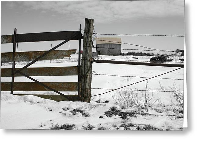 Winter Fence Farm Greeting Card