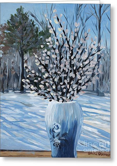 Winter Floral Greeting Card by Stella Sherman