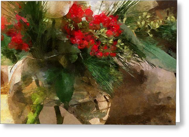 Winter Flowers In Glass Vase Greeting Card