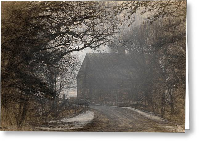 Winter Foggy Countryside Road And Barn Greeting Card