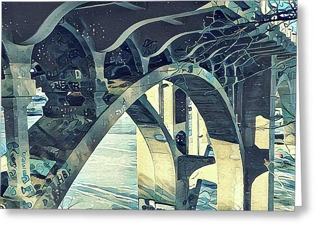 Winter Ford Bridge Greeting Card by Tim Nyberg