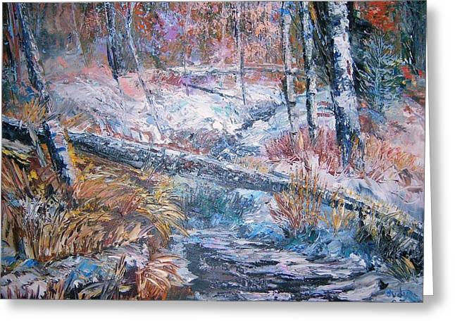 Winter Forest Greeting Card by Judy Groves