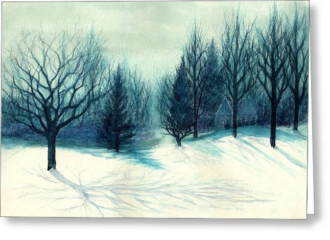 Winter Forest Skyline - Winter Blues Greeting Card