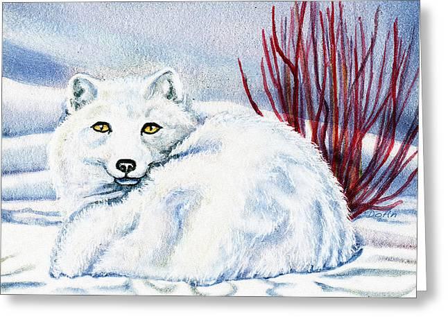 Winter Fox Greeting Card by Antony Galbraith
