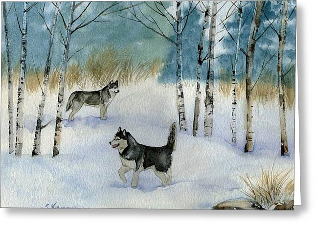 Winter Frolic Greeting Card by Sharon Nummer