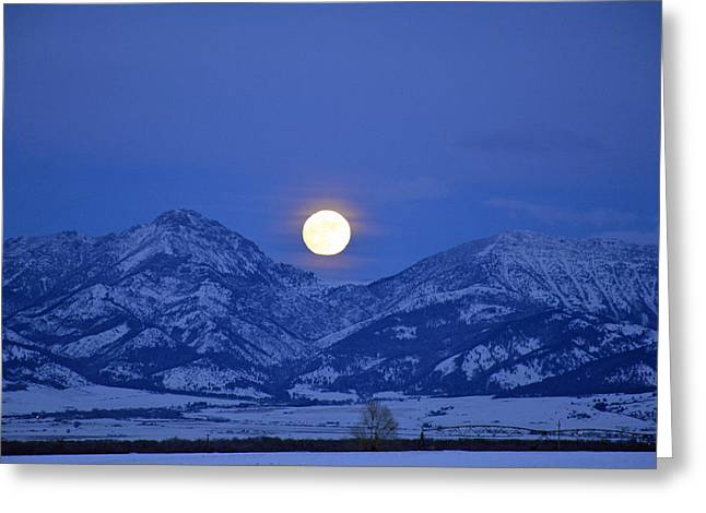 Winter Full Moon Over The Rockies Greeting Card