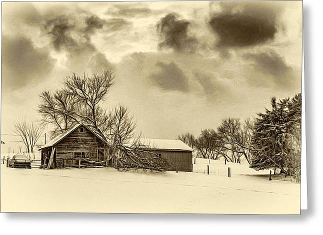Winter Gloaming - Sepia Greeting Card