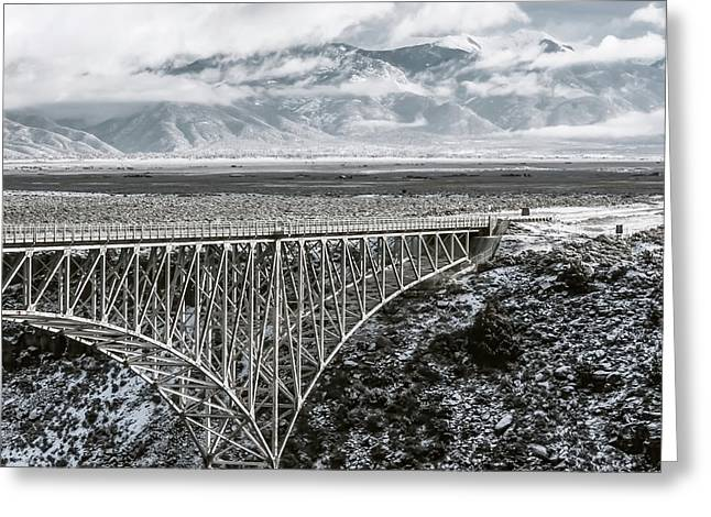 Greeting Card featuring the photograph Winter Gorge Bridge  by Britt Runyon