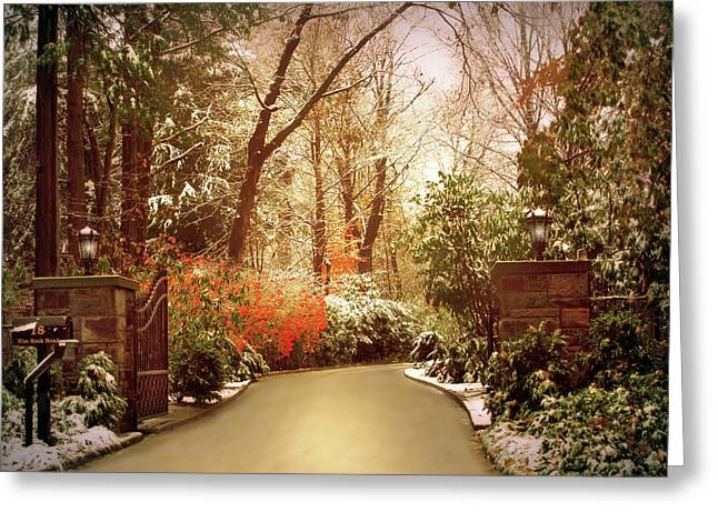 Winter Greets Autumn Greeting Card by Jessica Jenney