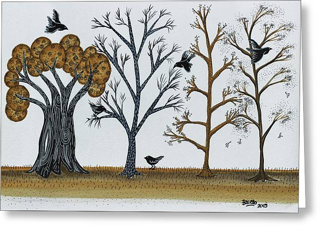Blackbirds In The Winter Grove Greeting Card by Graciela Bello