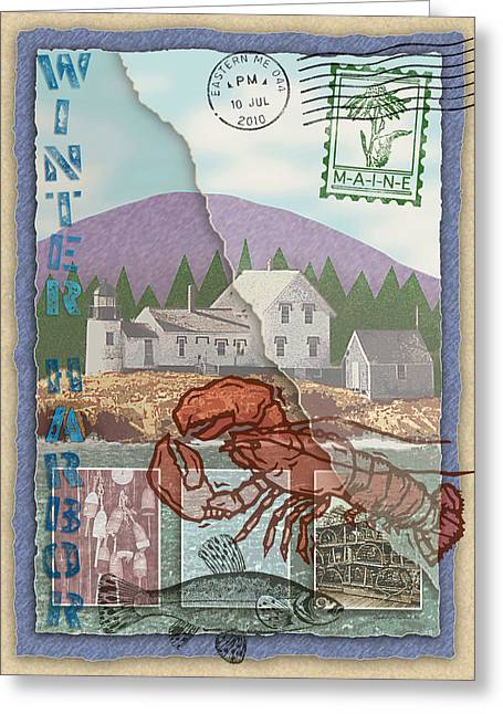 Winter Harbor Collage Greeting Card by Ernestine Grindal