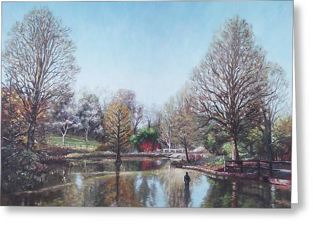 Greeting Card featuring the painting Winter Hilliers Garden Hampshire by Martin Davey