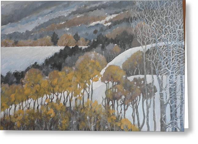 Winter Hills Greeting Card by Giacomo Alessandro Morotti