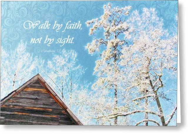 Old Church Winter - Verse  Greeting Card by Anita Faye