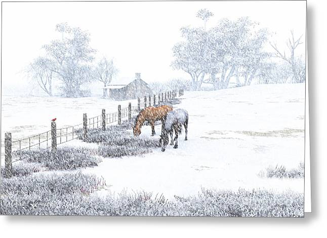 Winter Holiday At The Farm Greeting Card by Diana Voyajolu