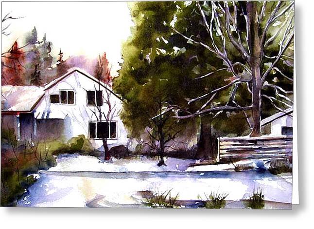Greeting Card featuring the painting Winter Homestead by Marti Green