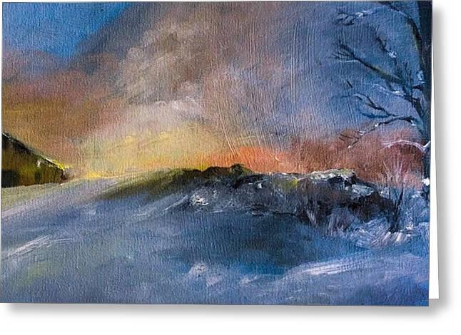 Winter Horse Barn Snowy Landscape Greeting Card