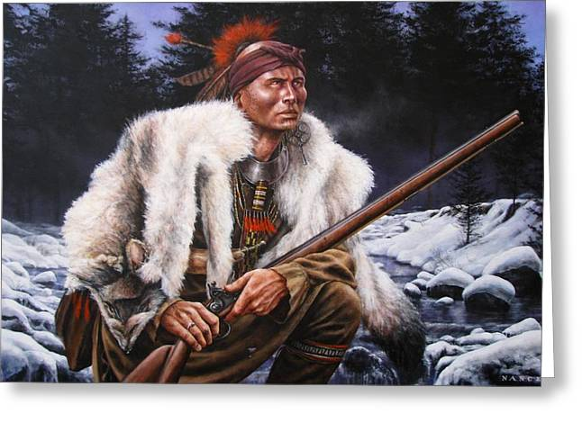 Winter Hunter  Greeting Card by Dan  Nance