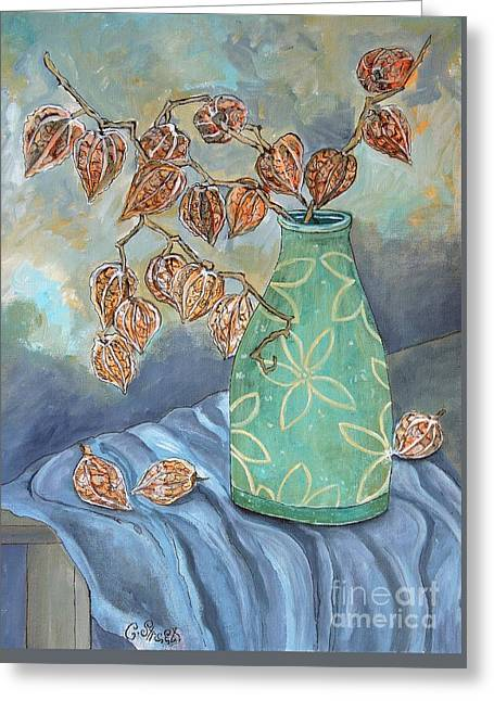 Winter In A Spring Vase Greeting Card