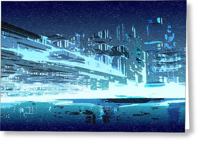 Winter In Blue City Greeting Card