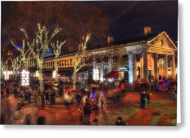 Winter In Boston - Quincy Market Greeting Card