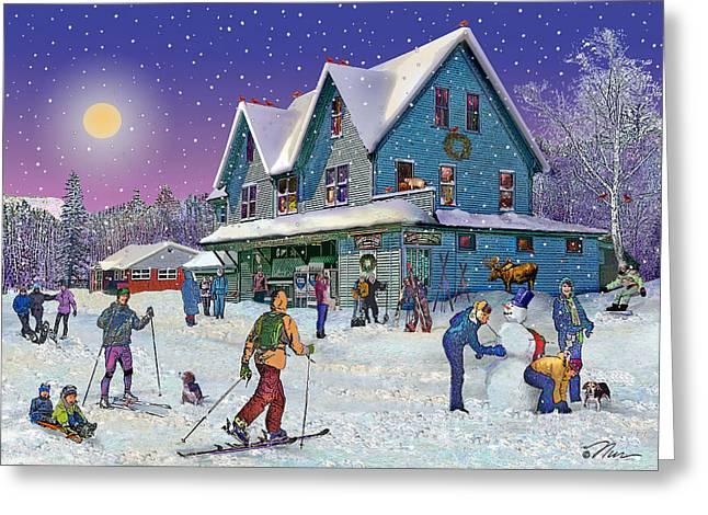 Winter In Campton Village Greeting Card