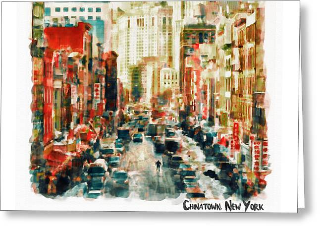 Winter In Chinatown - New York Greeting Card by Marian Voicu