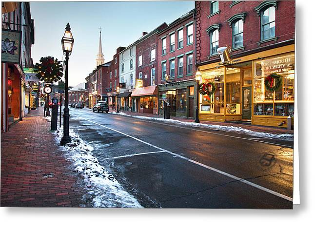 Winter In Downtown Portsmouth Greeting Card by Eric Gendron